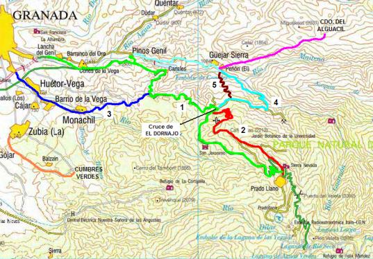 Mapa sobre las múltiples vertientes de Sierra Nevada y subidas cercanas.