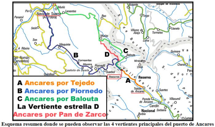 Mapa de las vertientes de Ancares