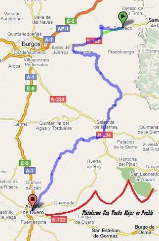 Mapa Orbaneja Del Castillo Burgos.Etapas En Burgos Plataforma Recorridos Ciclistas