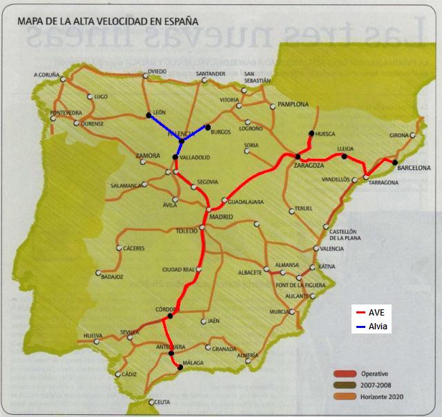 Mapa de la red de alta velocidad proyectada para 2020 sobre el que se han marcado las lineas y ciudades usadas para las entradas del blog y su tipo de servicio actual
