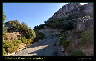 Rampa del 21% en la pestosa carretera de Hoya de Charilla. Foto de Google Street View.