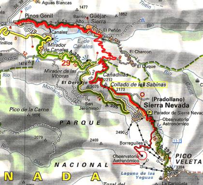 Plano de la subida completa de Granada al IRAM, por Haza Llana y el Collado de Las Sabinas.