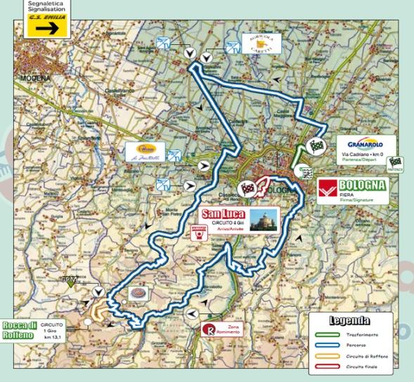 Mapa Giro Emilia 2014