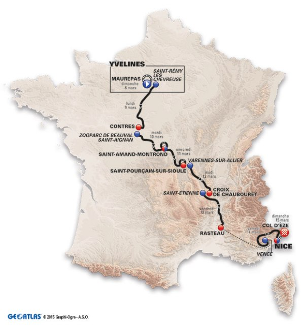map route paris-nice 2015