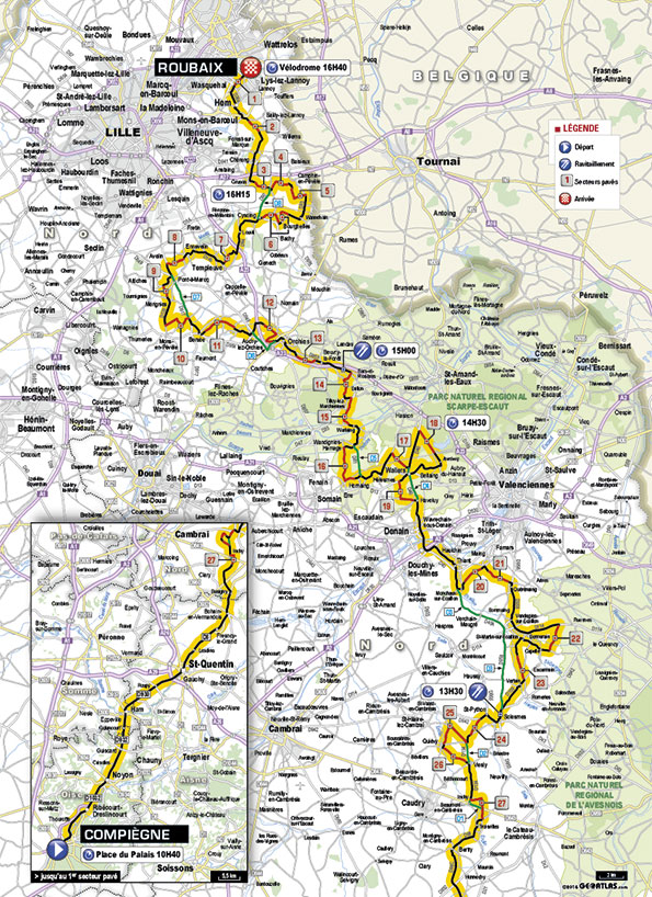 carte paris roubaix 2016