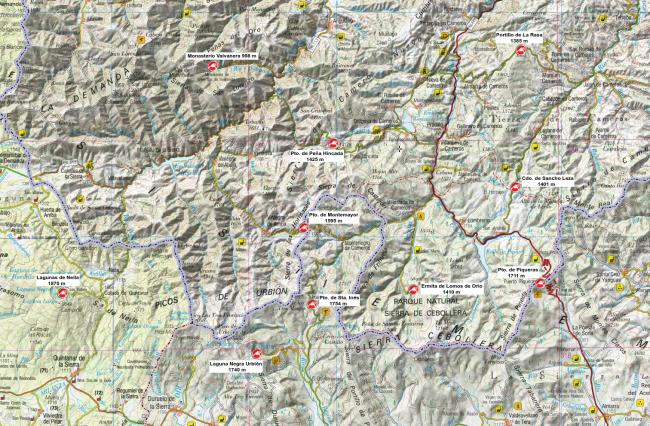 Mapa de los puertos de Cameros, Neila y Urbión.