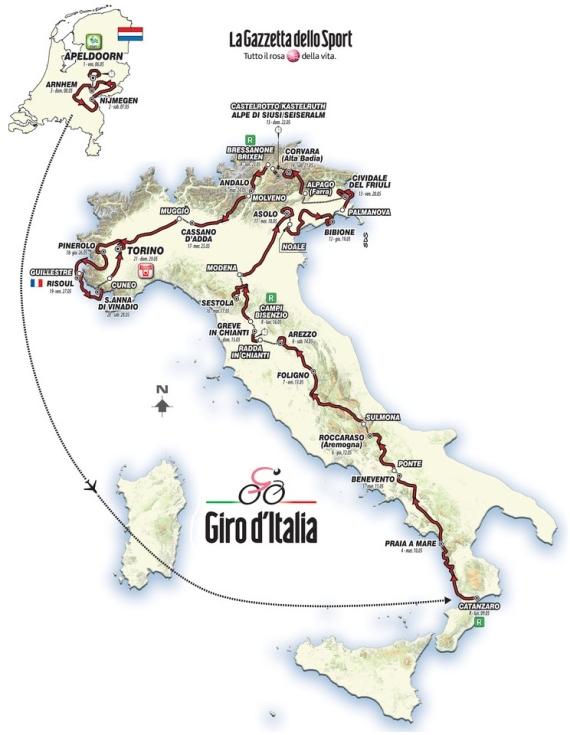 mapa giro italia 2016