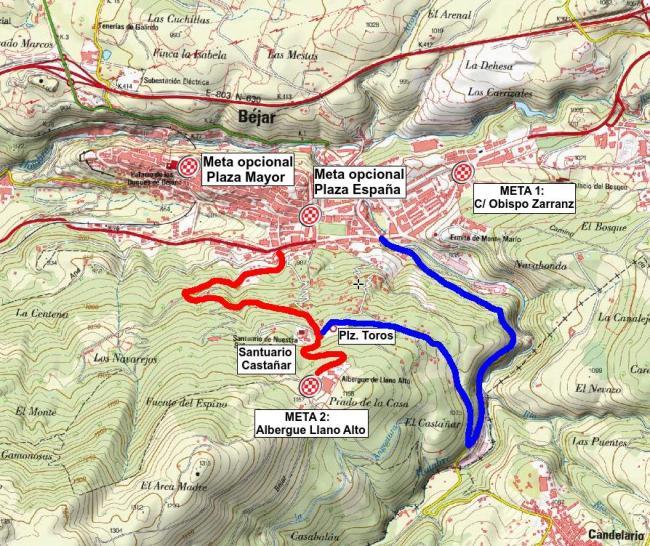 Plano con las diferentes opciones de meta en Béjar y las carreteras que suben al Santuario del Castañar y el Albergue Llano Alto.