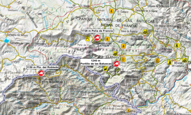Mapa de la Sierra de Francia y sus principales puertos.
