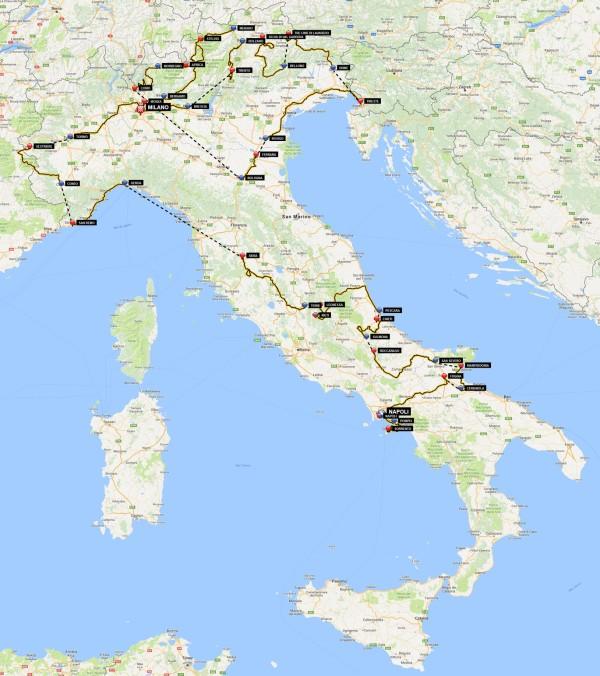 mapa giro centenario prc